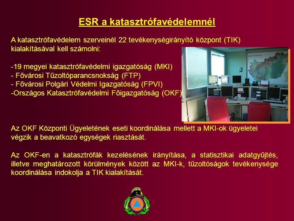 ESR a katasztrófavédelemnél A katasztrófavédelem szerveinél 22 tevékenységirányító központ (TIK) kialakításával kell számolni: -19 megyei katasztrófav