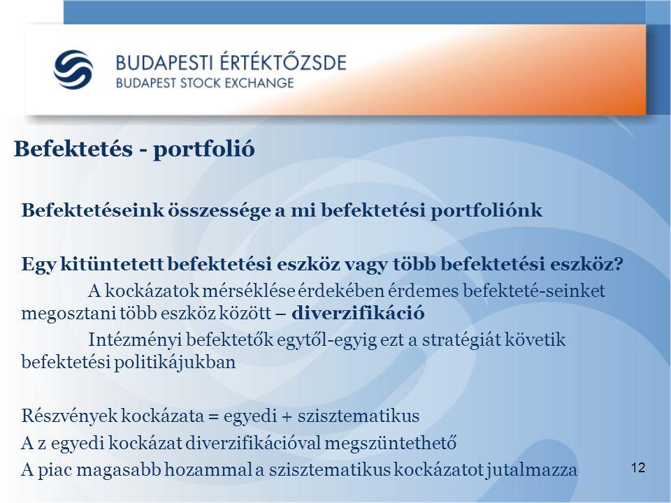 12 Befektetéseink összessége a mi befektetési portfoliónk Egy kitüntetett befektetési eszköz vagy több befektetési eszköz.