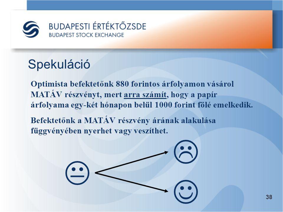 38 Spekuláció  Optimista befektetőnk 880 forintos árfolyamon vásárol MATÁV részvényt, mert arra számít, hogy a papír árfolyama egy-két hónapon belül 1000 forint fölé emelkedik.