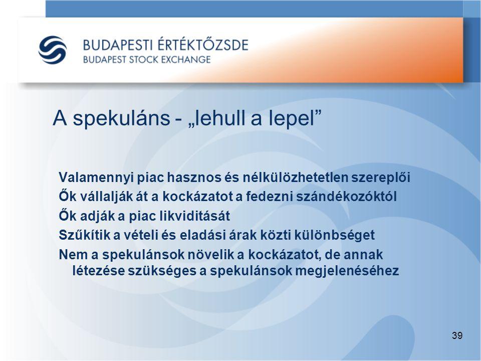 """39 A spekuláns - """"lehull a lepel Valamennyi piac hasznos és nélkülözhetetlen szereplői Ők vállalják át a kockázatot a fedezni szándékozóktól Ők adják a piac likviditását Szűkítik a vételi és eladási árak közti különbséget Nem a spekulánsok növelik a kockázatot, de annak létezése szükséges a spekulánsok megjelenéséhez"""