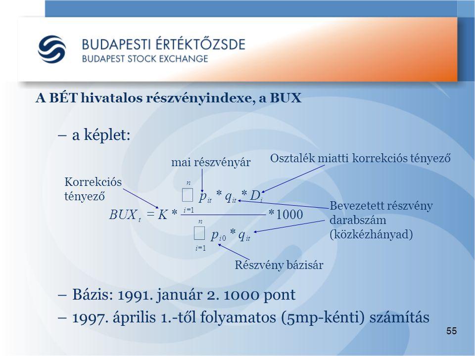 55 A BÉT hivatalos részvényindexe, a BUX –a képlet: –Bázis: 1991.