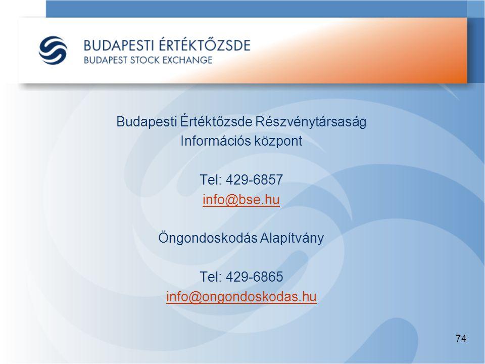 74 Budapesti Értéktőzsde Részvénytársaság Információs központ Tel: 429-6857 info@bse.hu Öngondoskodás Alapítvány Tel: 429-6865 info@ongondoskodas.hu
