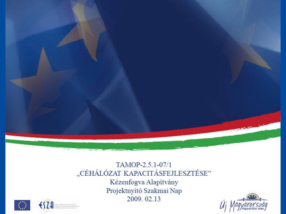 """TAMOP-2.5.1-07/1 """"CÉHÁLÓZAT KAPACITÁSFEJLESZTÉSE"""" Kézenfogva Alapítvány Projektnyitó Szakmai Nap 2009. 02.13"""