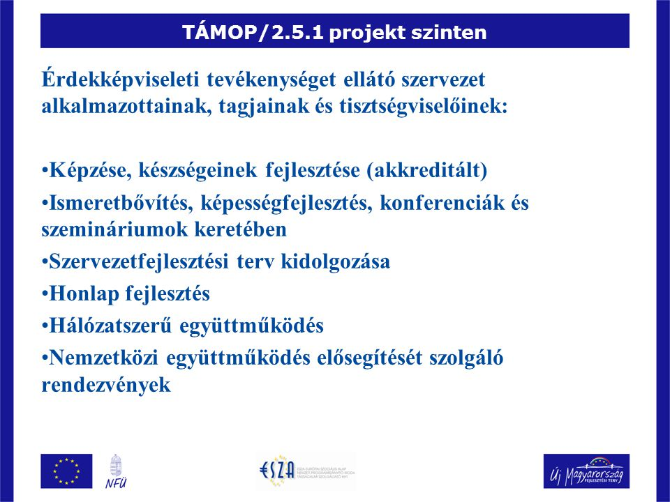TÁMOP/2.5.1 projekt szinten Érdekképviseleti tevékenységet ellátó szervezet alkalmazottainak, tagjainak és tisztségviselőinek: Képzése, készségeinek fejlesztése (akkreditált) Ismeretbővítés, képességfejlesztés, konferenciák és szemináriumok keretében Szervezetfejlesztési terv kidolgozása Honlap fejlesztés Hálózatszerű együttműködés Nemzetközi együttműködés elősegítését szolgáló rendezvények