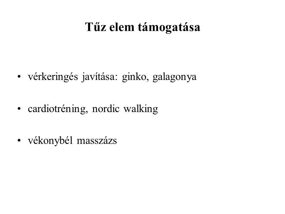 Tűz elem támogatása vérkeringés javítása: ginko, galagonya cardiotréning, nordic walking vékonybél masszázs