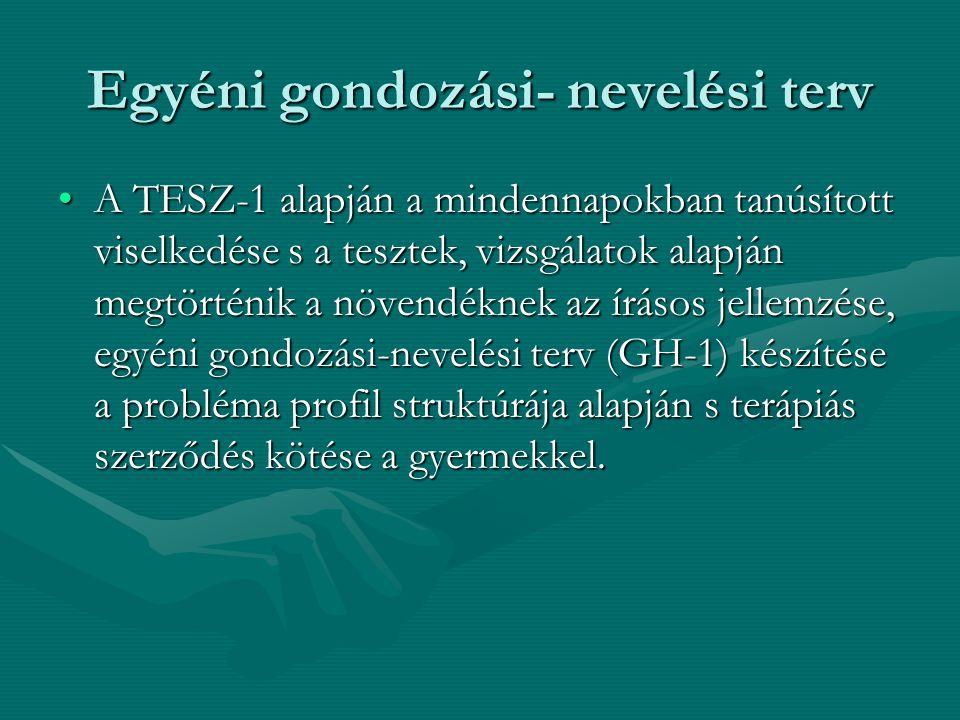 Egyéni gondozási- nevelési terv A TESZ-1 alapján a mindennapokban tanúsított viselkedése s a tesztek, vizsgálatok alapján megtörténik a növendéknek az