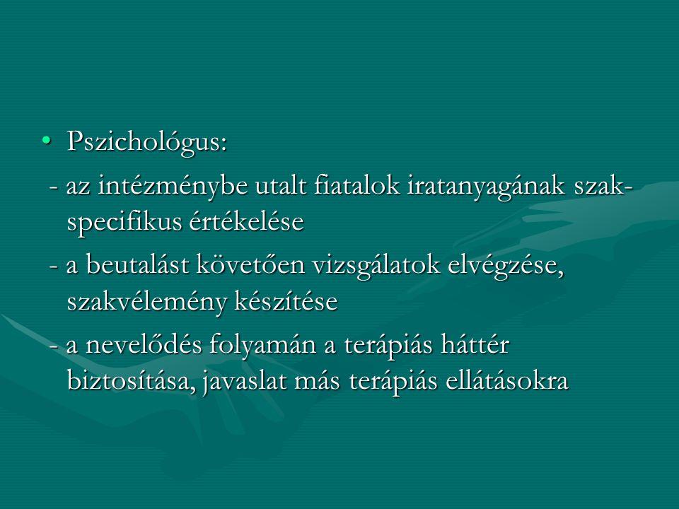 Pszichológus:Pszichológus: - az intézménybe utalt fiatalok iratanyagának szak- specifikus értékelése - az intézménybe utalt fiatalok iratanyagának sza