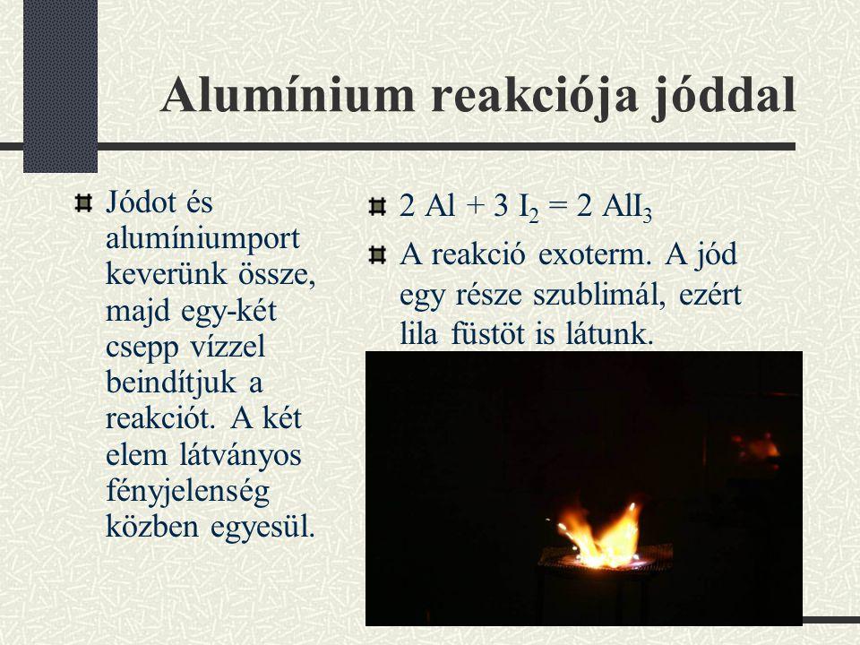 Alumínium reakciója jóddal Jódot és alumíniumport keverünk össze, majd egy-két csepp vízzel beindítjuk a reakciót.