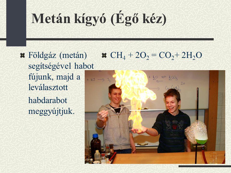 Metán kígyó (Égő kéz) Földgáz (metán) segítségével habot fújunk, majd a leválasztott habdarabot meggyújtjuk.
