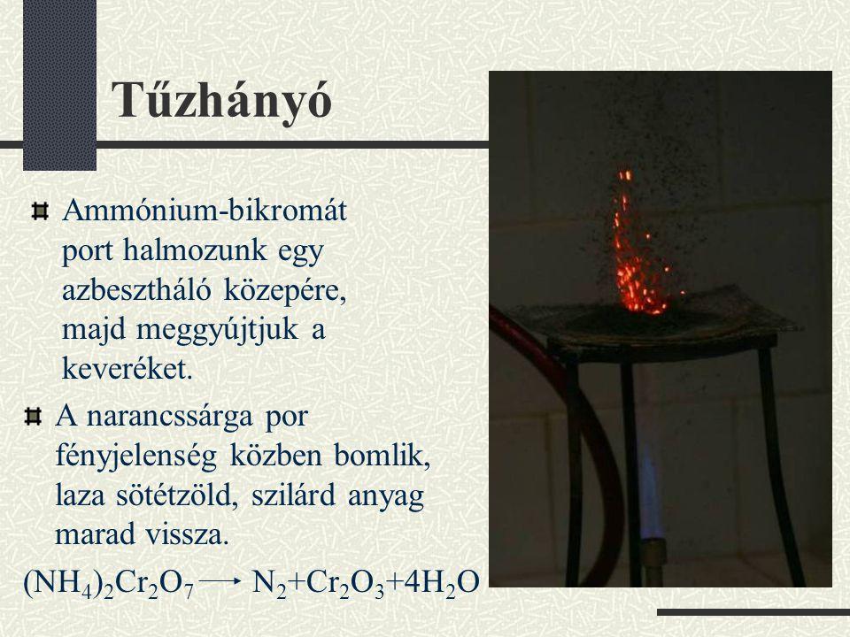 Tűzhányó Ammónium-bikromát port halmozunk egy azbesztháló közepére, majd meggyújtjuk a keveréket.