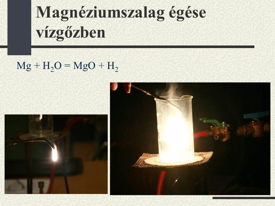 Magnéziumszalag égése vízgőzben Mg + H 2 O = MgO + H 2
