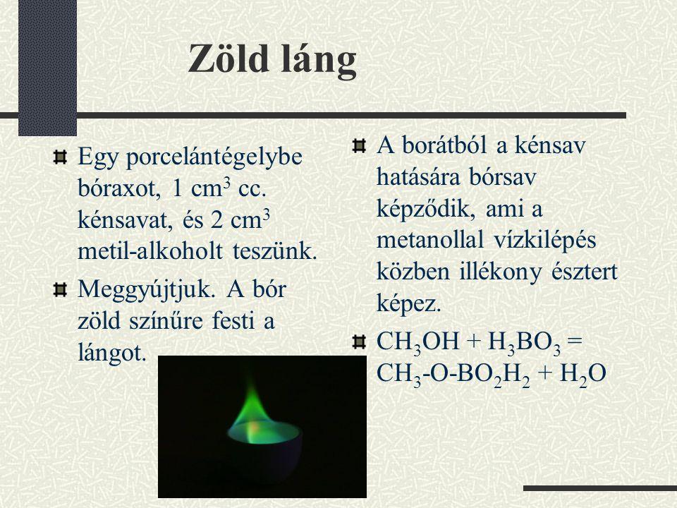 Kísérletek kristályvízzel Hevítsünk kémcsőben kristályos kobalt-kloridot és réz-szulfátot.