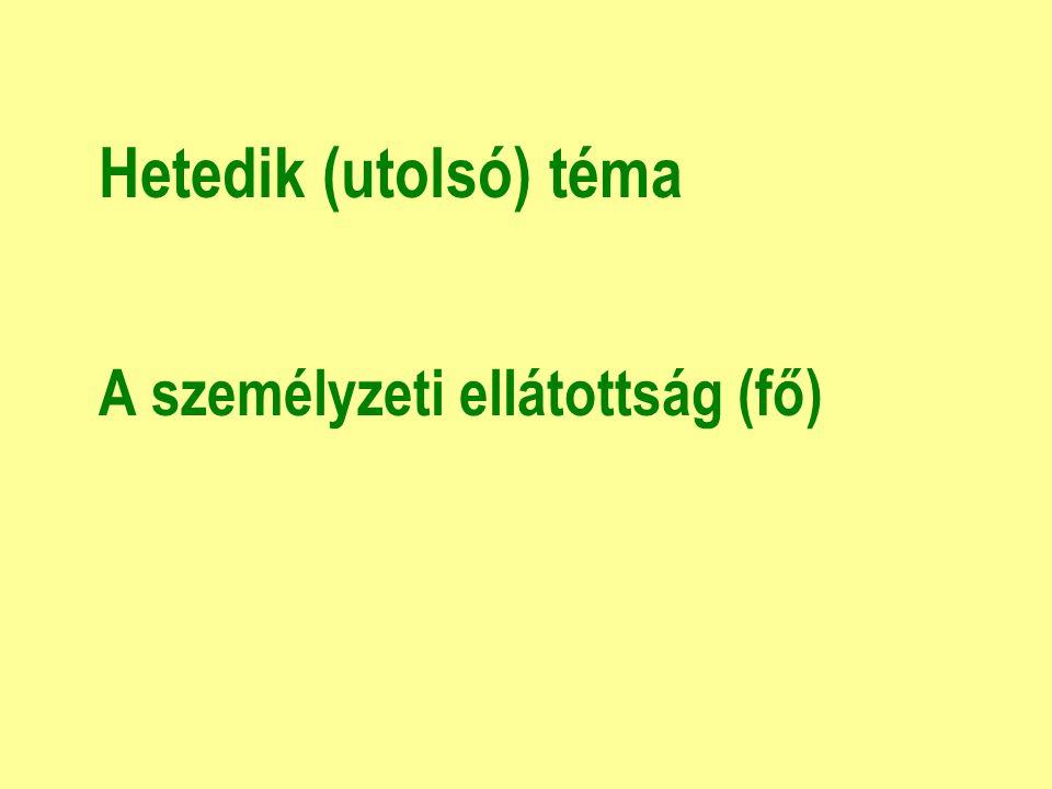 Hetedik (utolsó) téma A személyzeti ellátottság (fő)