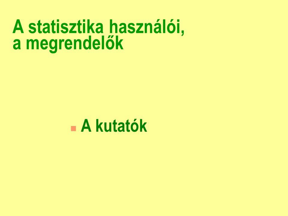 A statisztika használói, a megrendelők n Európa, a nemzetközi sta- tisztikai rendszer