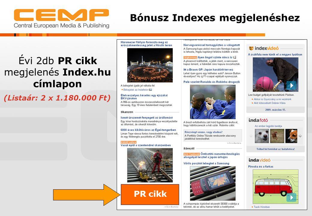 Bónusz Indexes megjelenéshez PR cikk Évi 2db PR cikk megjelenés Index.hu címlapon (Listaár: 2 x 1.180.000 Ft)