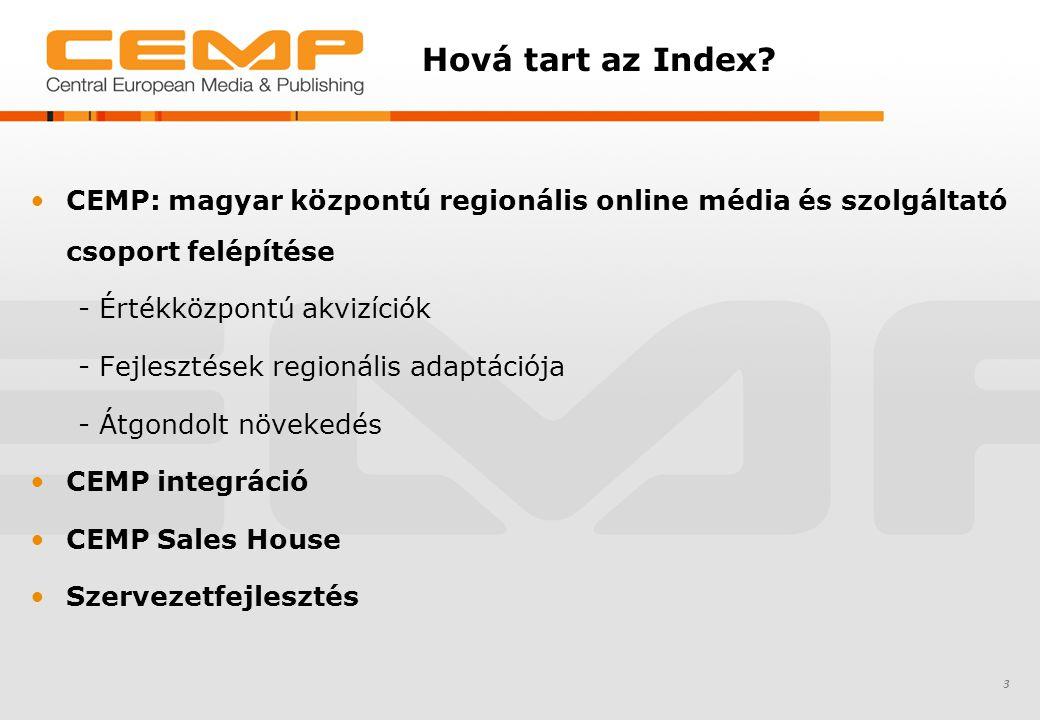 Hová tart az Index? CEMP: magyar központú regionális online média és szolgáltató csoport felépítése - Értékközpontú akvizíciók - Fejlesztések regionál