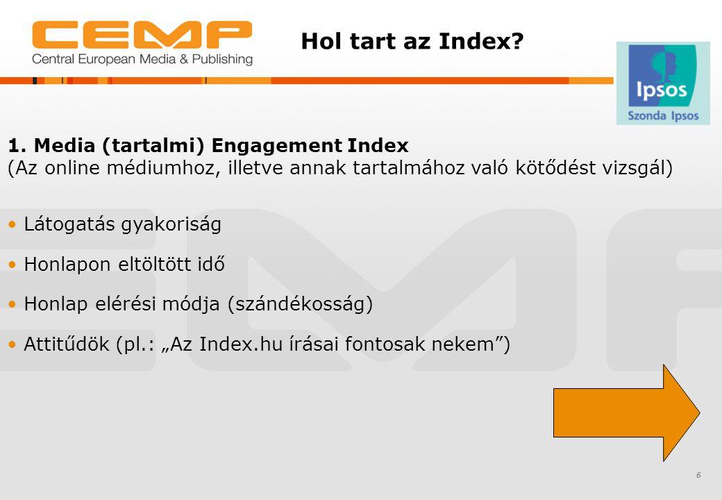 Hol tart az Index? 6 1. Media (tartalmi) Engagement Index (Az online médiumhoz, illetve annak tartalmához való kötődést vizsgál) Látogatás gyakoriság