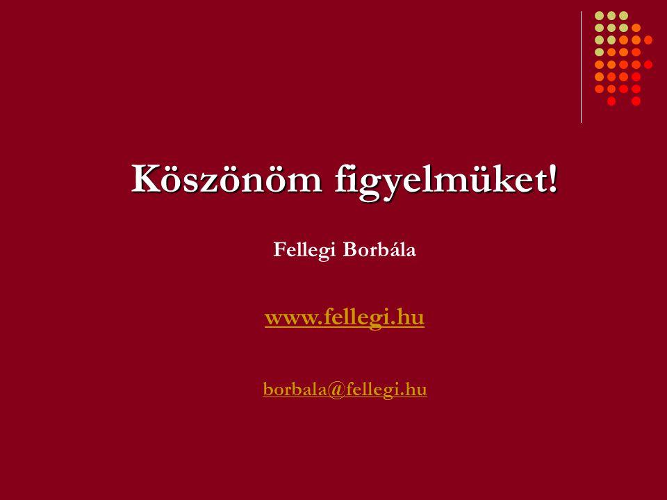 Köszönöm figyelmüket! Fellegi Borbála www.fellegi.hu borbala@fellegi.hu