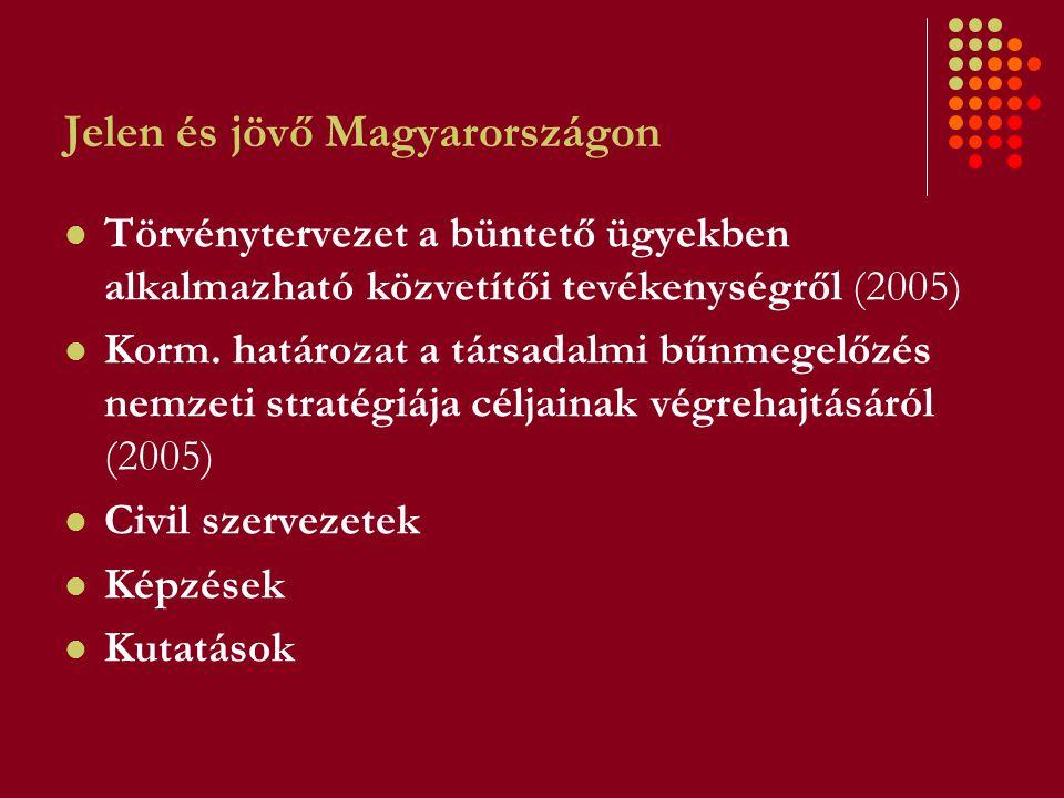 Jelen és jövő Magyarországon Törvénytervezet a büntető ügyekben alkalmazható közvetítői tevékenységről (2005) Korm. határozat a társadalmi bűnmegelőzé