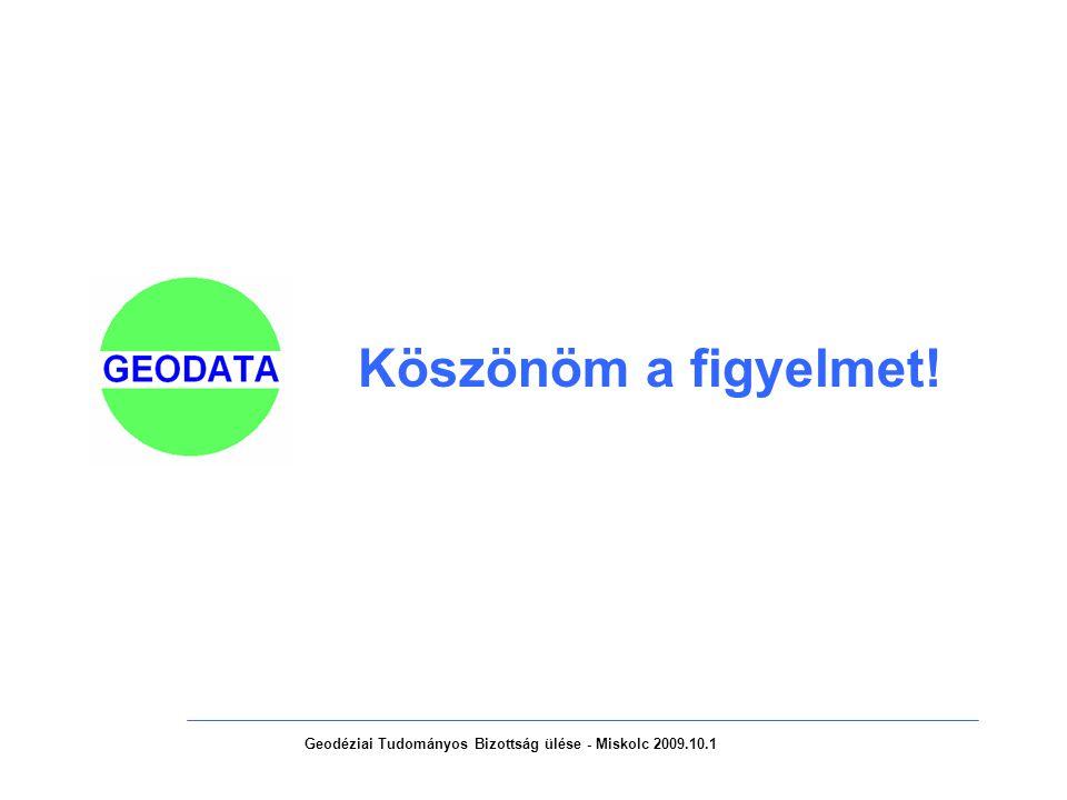 Geodéziai Tudományos Bizottság ülése - Miskolc 2009.10.1 Köszönöm a figyelmet!