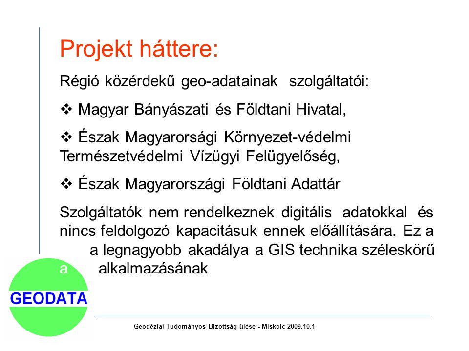 Projekt háttere: Régió közérdekű geo-adatainak szolgáltatói:  Magyar Bányászati és Földtani Hivatal,  Észak Magyarorsági Környezet-védelmi Természetvédelmi Vízügyi Felügyelőség,  Észak Magyarországi Földtani Adattár Szolgáltatók nem rendelkeznek digitális adatokkal és nincs feldolgozó kapacitásuk ennek előállítására.