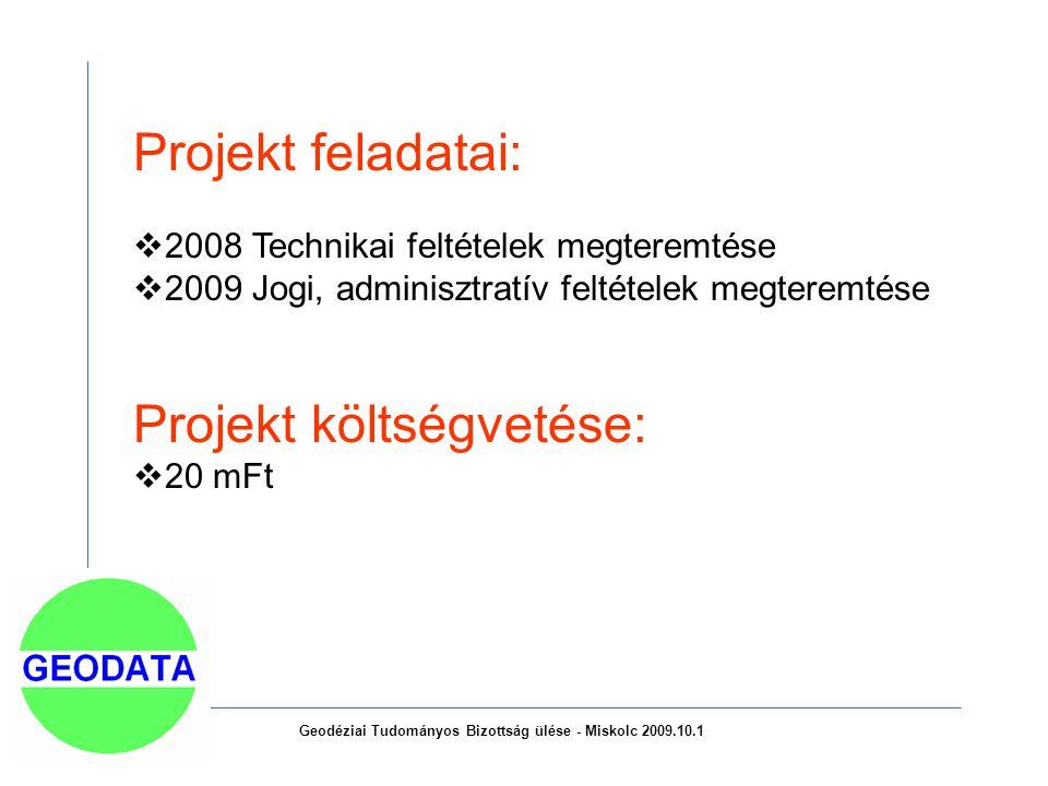 Geodéziai Tudományos Bizottság ülése - Miskolc 2009.10.1 Projekt feladatai:  2008 Technikai feltételek megteremtése  2009 Jogi, adminisztratív feltételek megteremtése Projekt költségvetése:  20 mFt