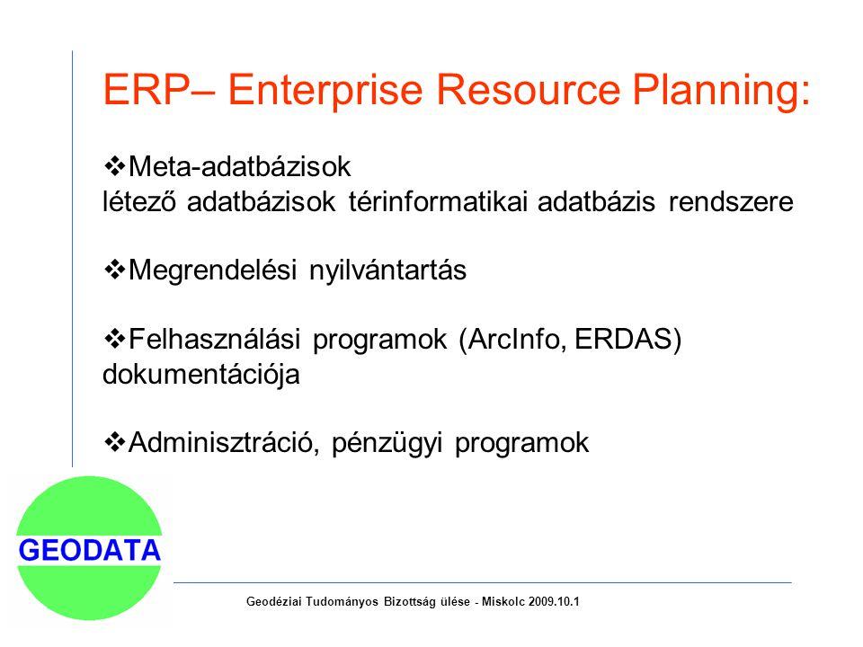 ERP– Enterprise Resource Planning:  Meta-adatbázisok létező adatbázisok térinformatikai adatbázis rendszere  Megrendelési nyilvántartás  Felhasználási programok (ArcInfo, ERDAS) dokumentációja  Adminisztráció, pénzügyi programok