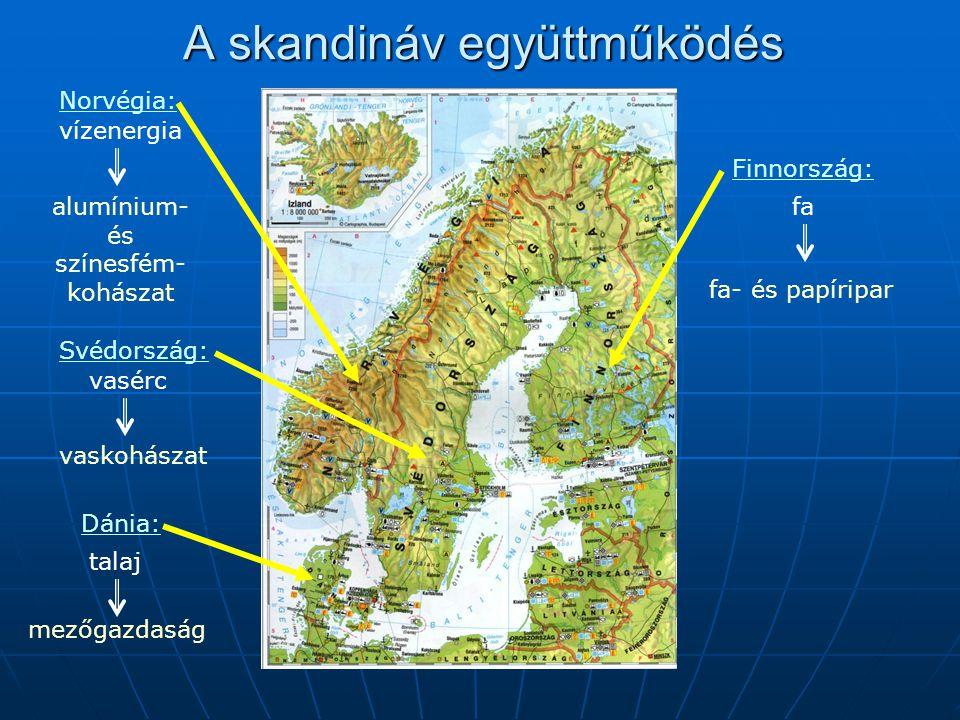 A skandináv együttműködés Norvégia: vízenergia Svédország: vasérc Dánia: talaj Finnország: faalumínium- és színesfém- kohászat vaskohászat mezőgazdasá