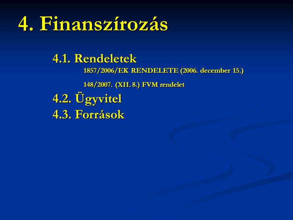 4.1. Rendeletek 1857/2006/EK RENDELETE (2006. december 15.) 1857/2006/EK RENDELETE (2006. december 15.) 148/2007. (XII. 8.) FVM rendelet 148/2007. (XI