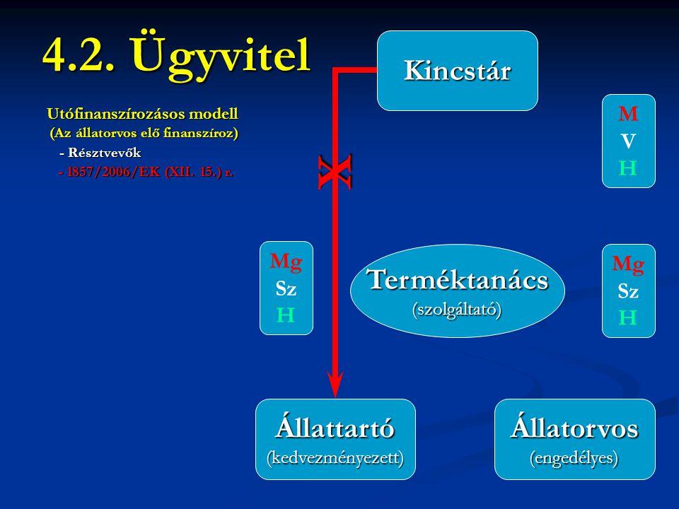 4.2. Ügyvitel Terméktanács(szolgáltató) Állattartó(kedvezményezett)Állatorvos(engedélyes) X Kincstár Utófinanszírozásos modell (Az állatorvos elő fina