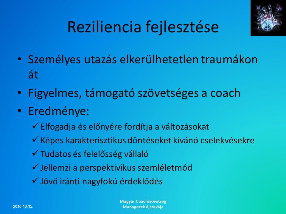 Reziliencia fejlesztése Személyes utazás elkerülhetetlen traumákon át Figyelmes, támogató szövetséges a coach Eredménye: Elfogadja és előnyére fordítj
