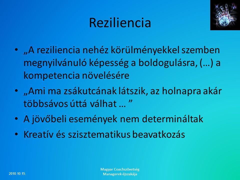 """Reziliencia """"A reziliencia nehéz körülményekkel szemben megnyilvánuló képesség a boldogulásra, (…) a kompetencia növelésére """"Ami ma zsákutcának látszi"""