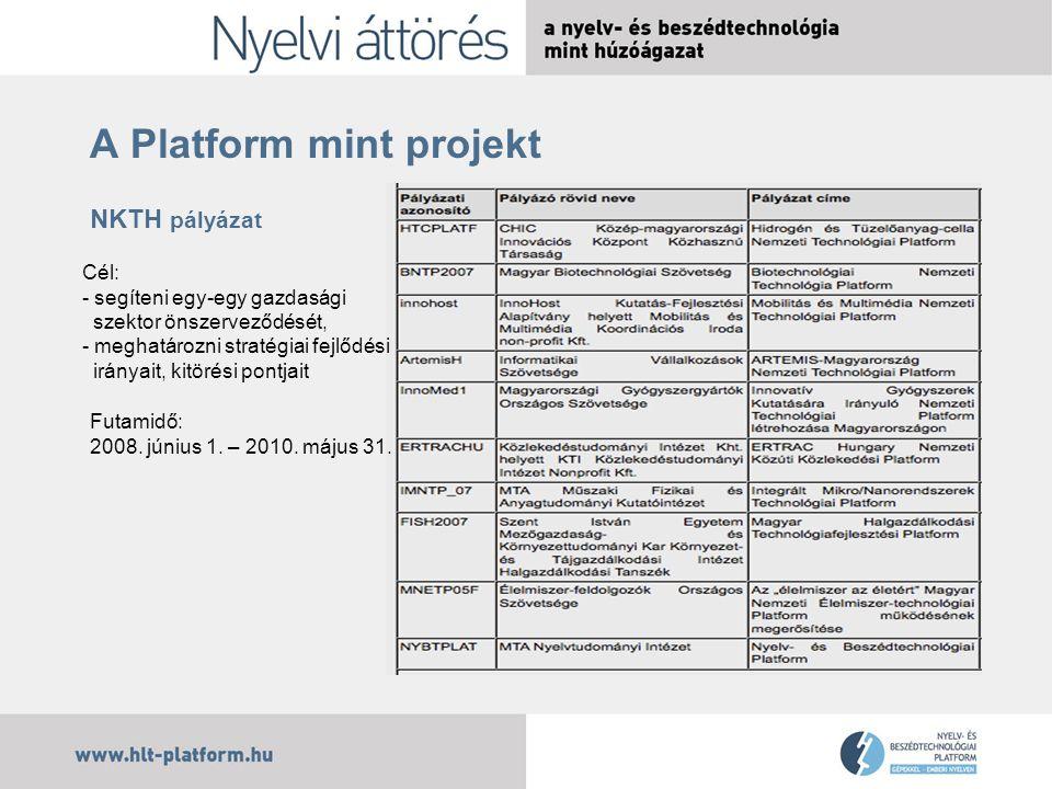 A Platform mint projekt NKTH pályázat Cél: - segíteni egy-egy gazdasági szektor önszerveződését, - meghatározni stratégiai fejlődési irányait irányait, kitörési pontjait Futamidő: 2008.