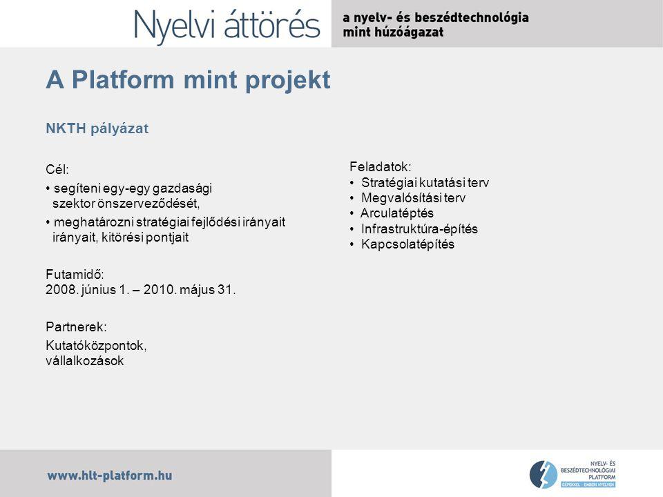 A Platform mint projekt NKTH pályázat Cél: segíteni egy-egy gazdasági szektor önszerveződését, meghatározni stratégiai fejlődési irányait irányait, kitörési pontjait Futamidő: 2008.