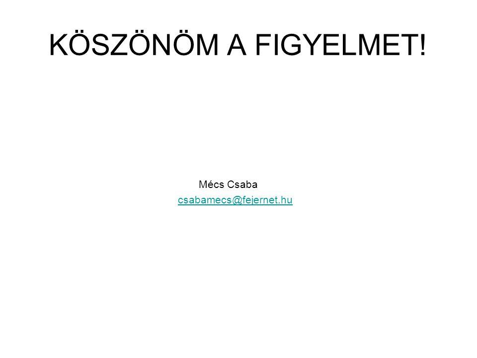 KÖSZÖNÖM A FIGYELMET! Mécs Csaba csabamecs@fejernet.hu