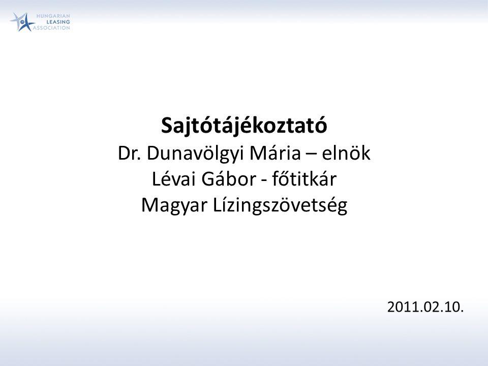 Sajtótájékoztató Dr. Dunavölgyi Mária – elnök Lévai Gábor - főtitkár Magyar Lízingszövetség 2011.02.10.