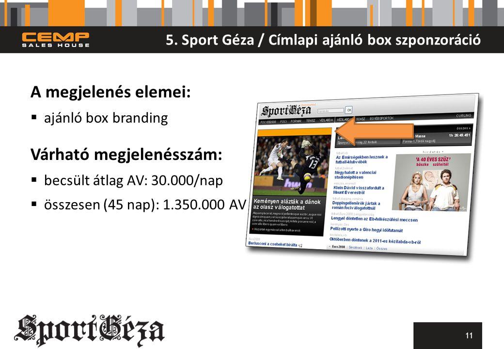 5. Sport Géza / Címlapi ajánló box szponzoráció 11 A megjelenés elemei:  ajánló box branding Várható megjelenésszám:  becsült átlag AV: 30.000/nap 
