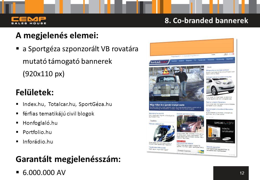 8. Co-branded bannerek 12 A megjelenés elemei:  a Sportgéza szponzorált VB rovatára mutató támogató bannerek (920x110 px) Felületek:  Index.hu, Tota