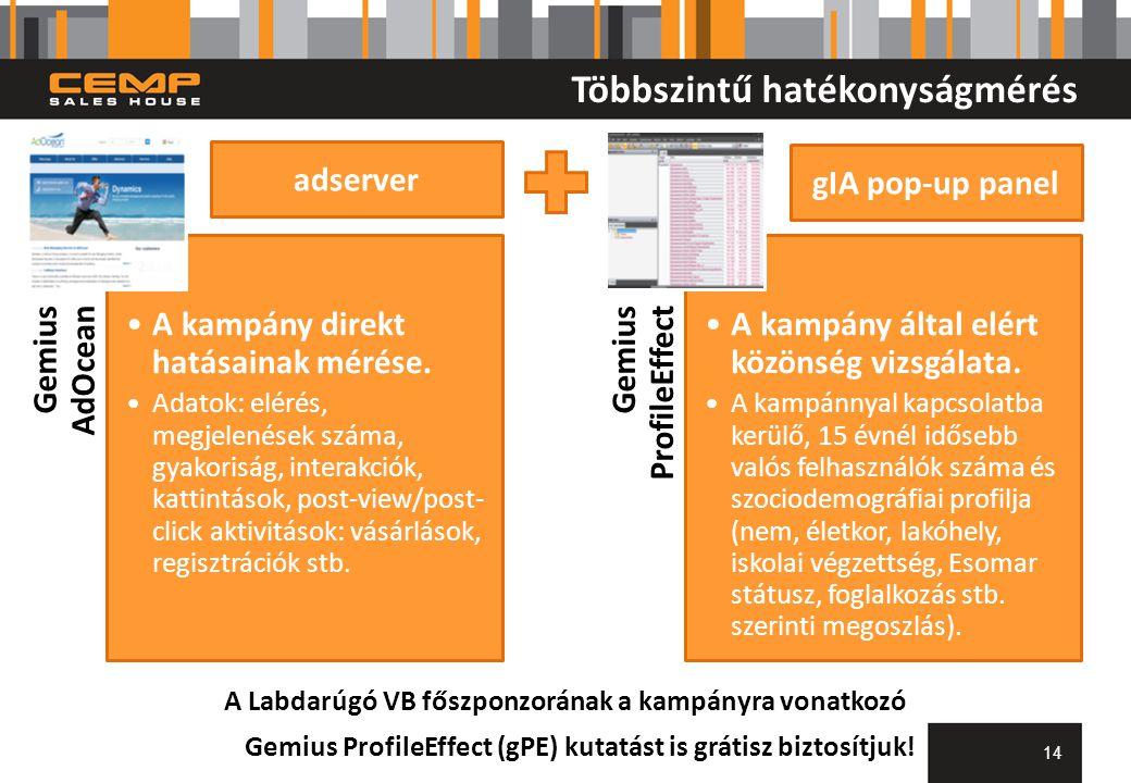 Többszintű hatékonyságmérés Gemius AdOcean A kampány direkt hatásainak mérése.