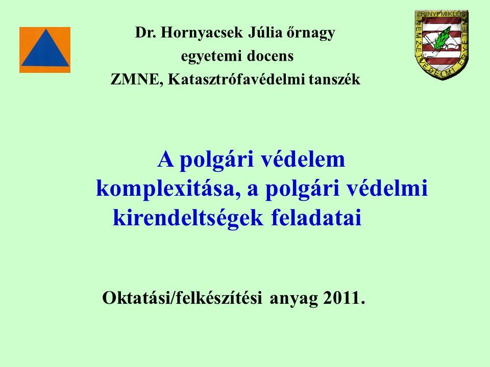 A polgári védelem komplexitása, a polgári védelmi kirendeltségek feladatai Dr. Hornyacsek Júlia őrnagy egyetemi docens ZMNE, Katasztrófavédelmi tanszé