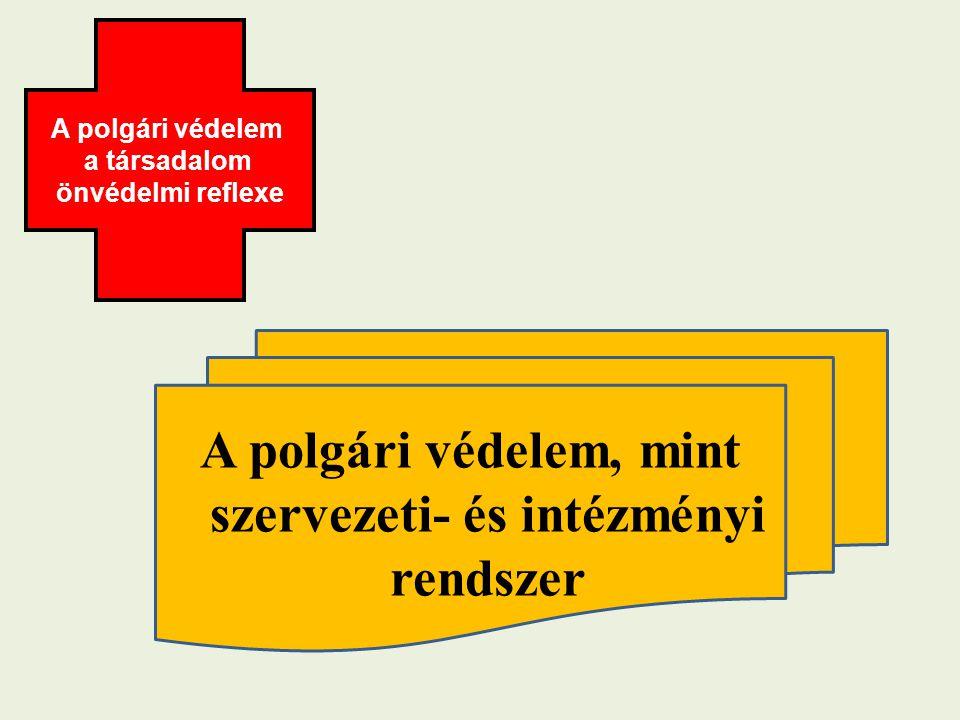 A polgári védelem, mint szervezeti- és intézményi rendszer A polgári védelem a társadalom önvédelmi reflexe