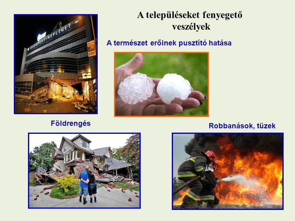 A településeket fenyegető veszélyek A természet erőinek pusztító hatása Földrengés Robbanások, tüzek
