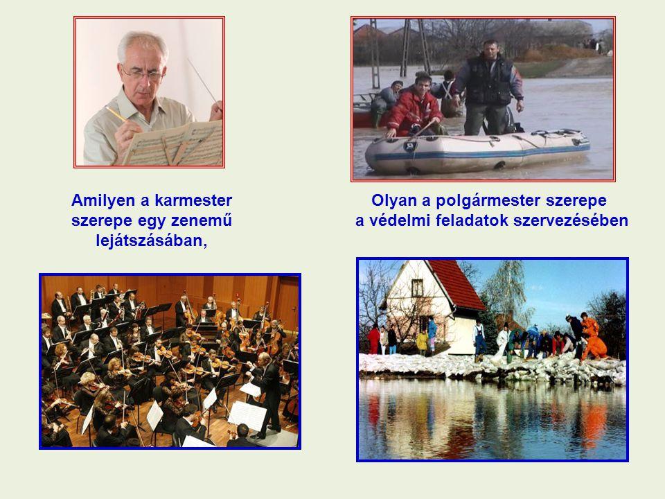 Amilyen a karmester szerepe egy zenemű lejátszásában, Olyan a polgármester szerepe a védelmi feladatok szervezésében