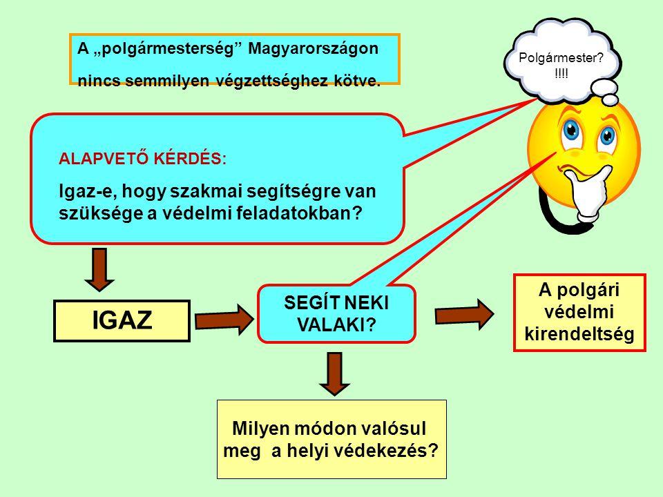 """ALAPVETŐ KÉRDÉS: Igaz-e, hogy szakmai segítségre van szüksége a védelmi feladatokban? A """"polgármesterség"""" Magyarországon nincs semmilyen végzettséghez"""