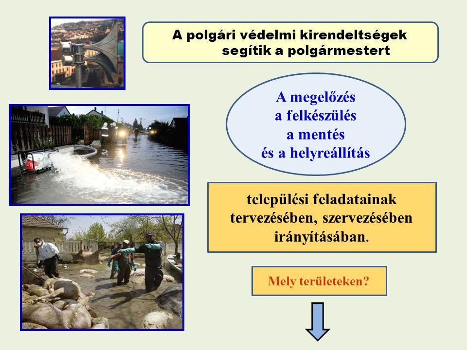 A polgári védelmi kirendeltségek segítik a polgármestert A megelőzés a felkészülés a mentés és a helyreállítás települési feladatainak tervezésében, s