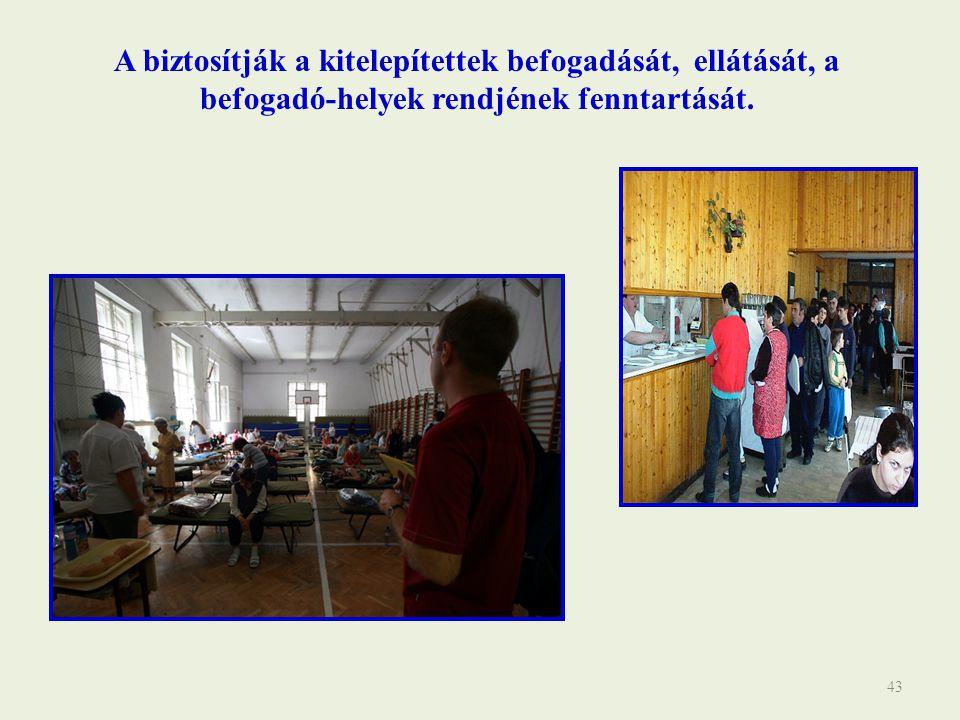43 A biztosítják a kitelepítettek befogadását, ellátását, a befogadó-helyek rendjének fenntartását.