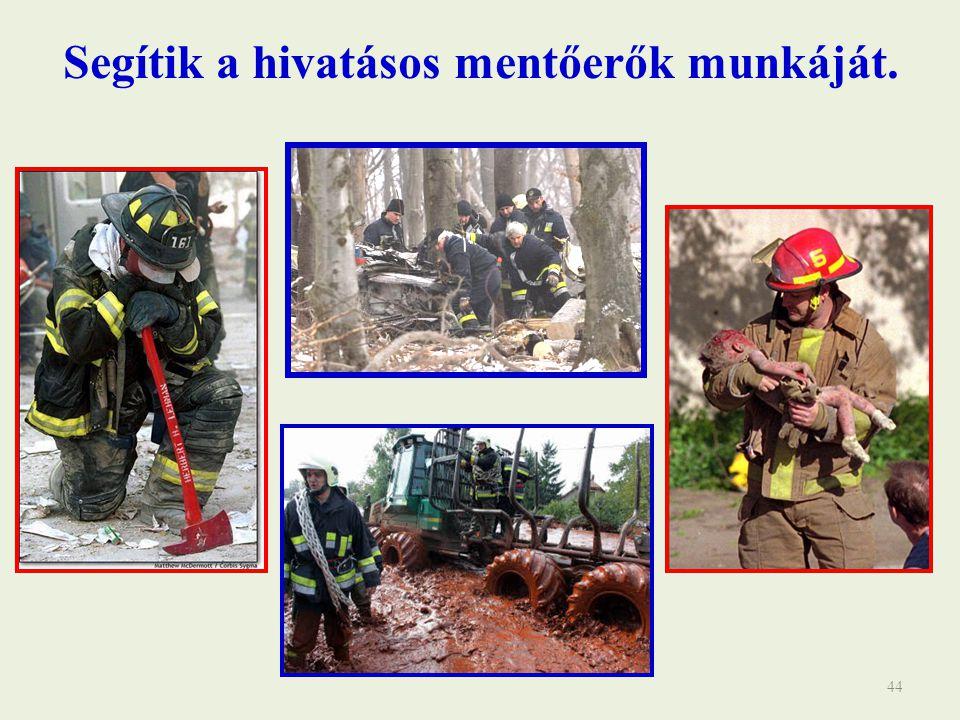 44 Segítik a hivatásos mentőerők munkáját.