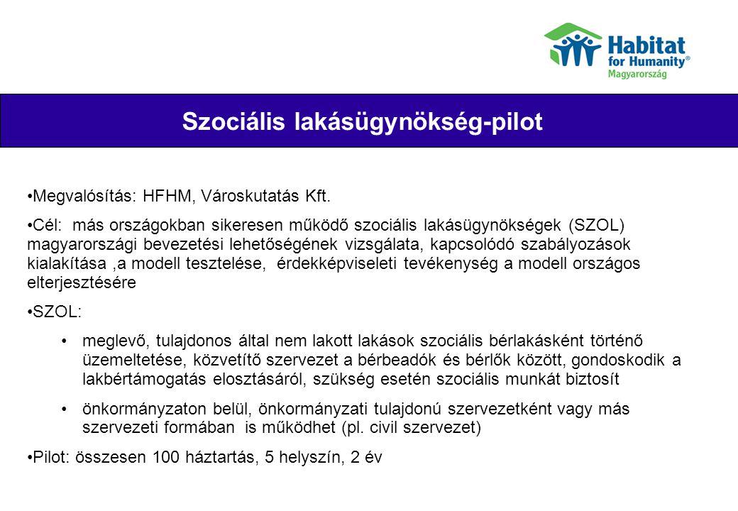Szociális lakásügynökség-pilot Their joy Megvalósítás: HFHM, Városkutatás Kft. Cél: más országokban sikeresen működő szociális lakásügynökségek (SZOL)