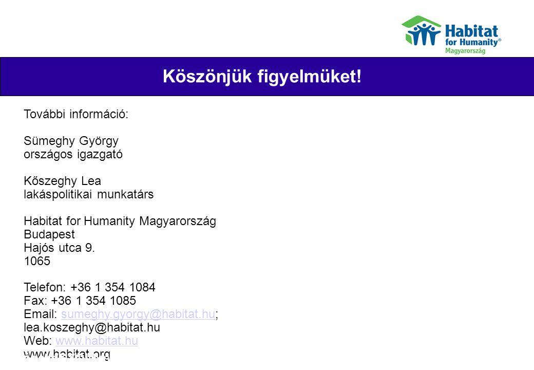 Köszönjük figyelmüket! Their joy További információ: Sümeghy György országos igazgató Kőszeghy Lea lakáspolitikai munkatárs Habitat for Humanity Magya