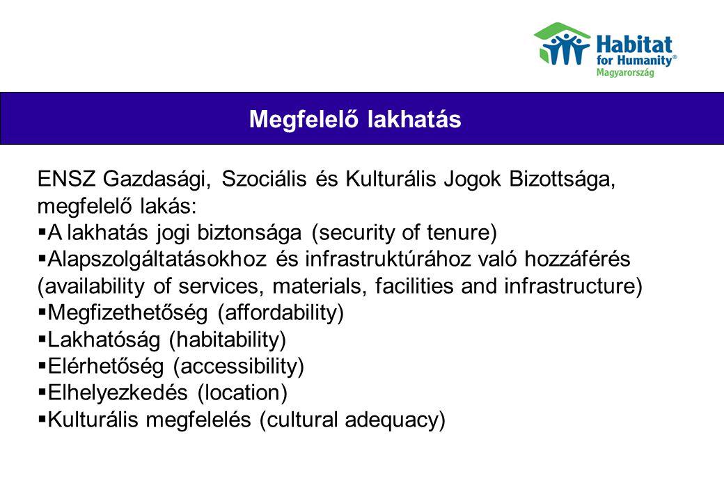 Megfelelő lakhatás Their joy ENSZ Gazdasági, Szociális és Kulturális Jogok Bizottsága, megfelelő lakás:  A lakhatás jogi biztonsága (security of tenu